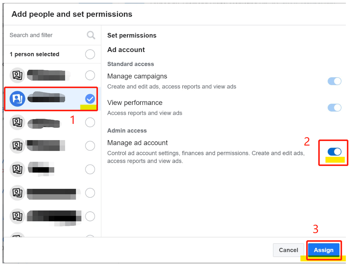 facebook business add people and set permissions-min